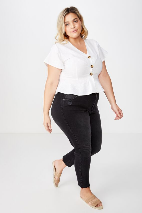 Curve V Neck Button Front Top, BLACK