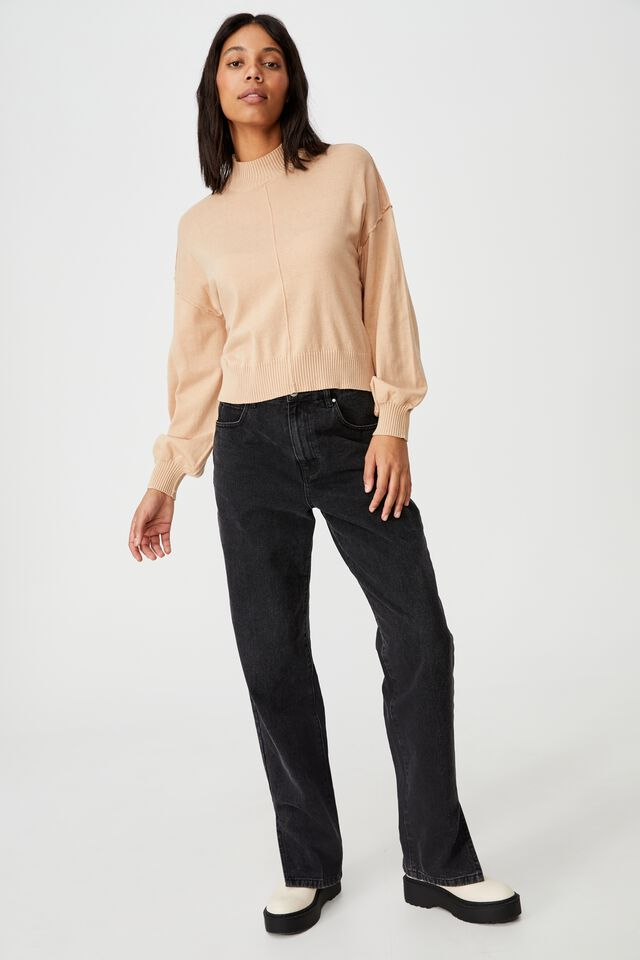 Cotton Mock Neck Pullover, BROWN TAUPE