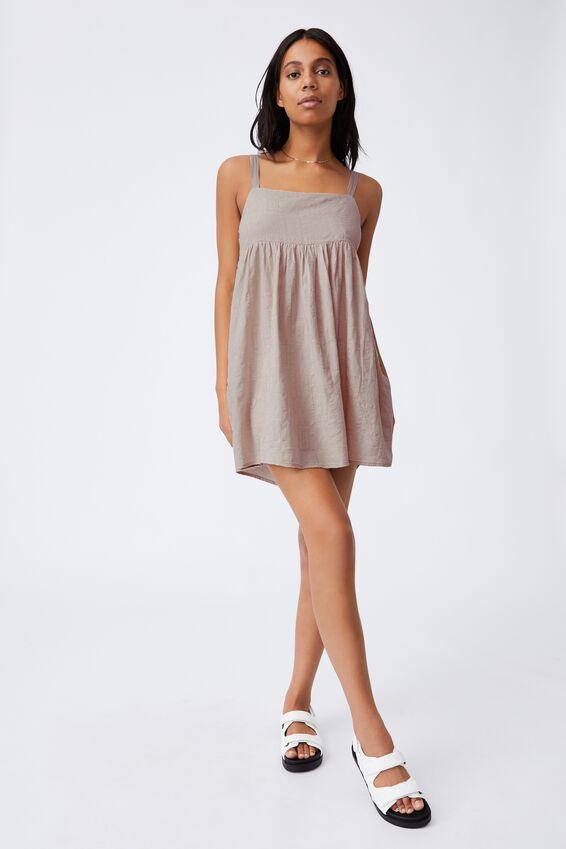 Woven Rizzo Keyhole Back Mini Dress, TAUPE