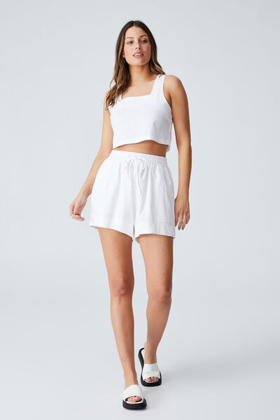 Day Dreamer Cropped Shell Top Petite, WHITE
