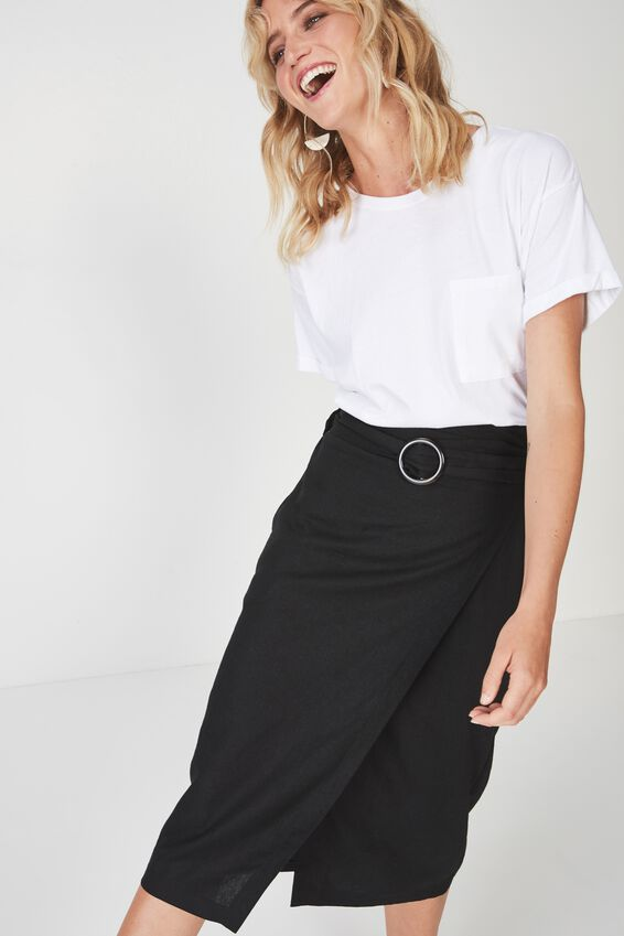 Woven Melanie Wrap Midi Skirt, BLACK- L