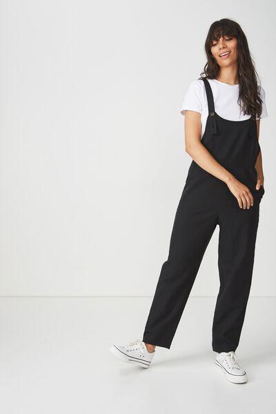 Woven Fiona Jumpsuit, BLACK