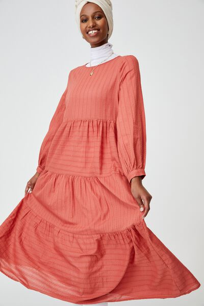 Woven Rebeka Tiered Maxi Dress, EARTHY RED