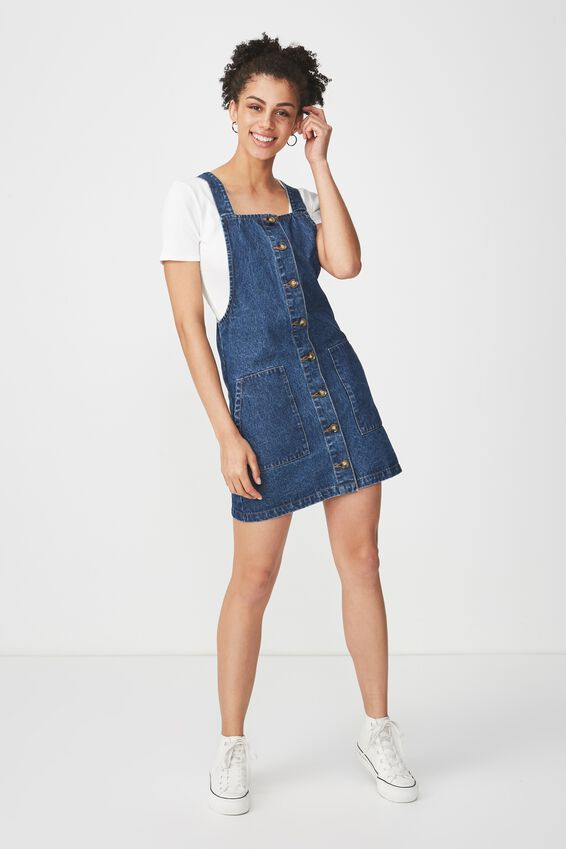 Denim Button Through Dress, MID BLUE 2