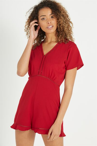 Woven Millie Playsuit, RUBY RED
