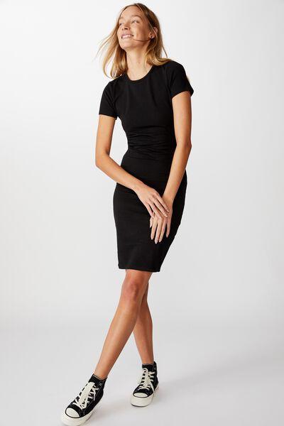 Essential Short Sleeve Midi Dress, BLACK