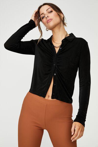 Bowie Button Front Shirt, BLACK