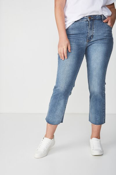 Mid Rise Straight Crop Stretch Jean, EVA VINTAGE BLUE