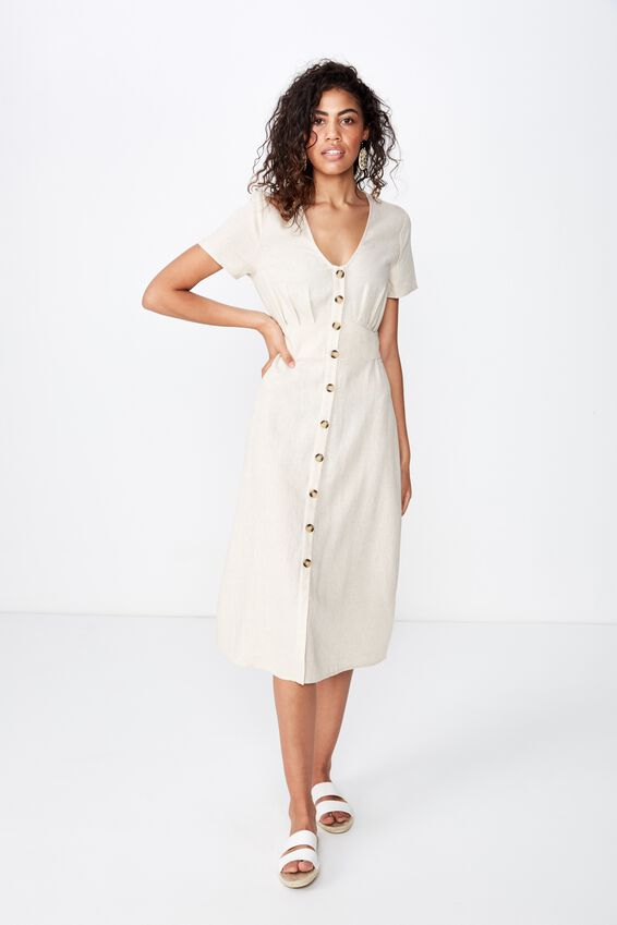 Woven Cherry Button Front S/S Midi Dress, LATTE MARLE- L