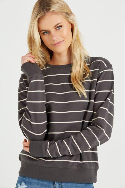 Ferguson Graphic Crew Sweater, SLATE GREY STRIPE/COCONUT