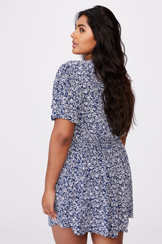 Curve Woven Miranda Mini Tea Dress, CLARA DITSY MEDIEVAL BLUE