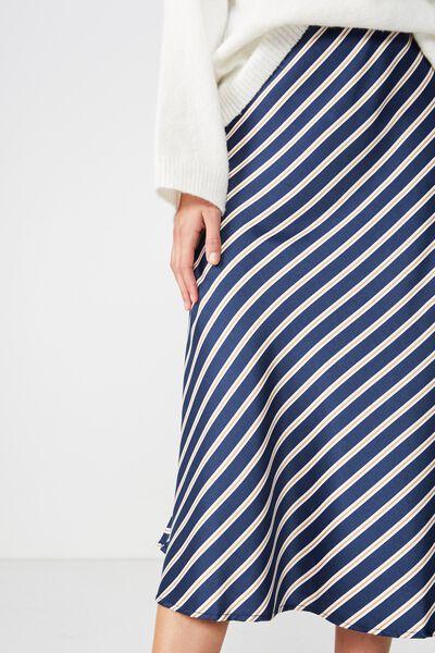 Woven Belle Bias Midi Skirt, JENNA STRIPE MOOD INDIGO