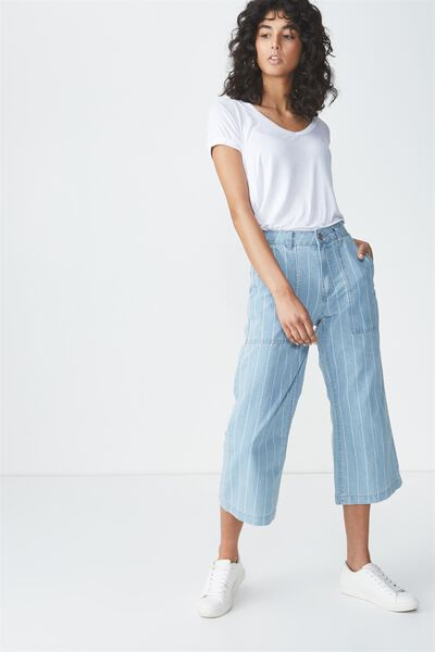 High Rise Wide Leg Crop Jean, BLEACH STRIPE