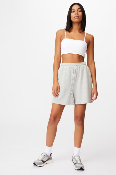 Terry Towelling Crop Top, WHITE