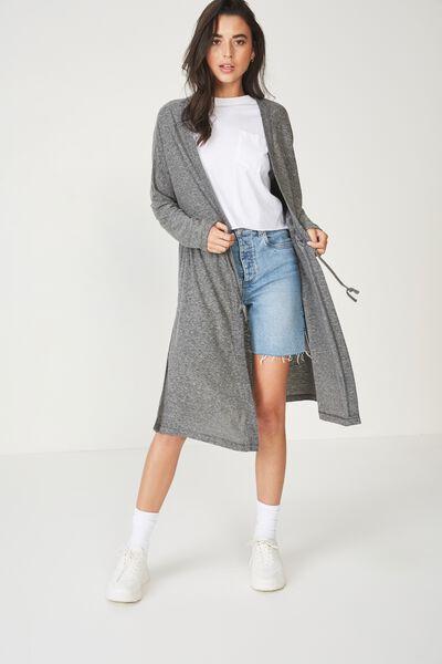 Mila Long Sleeve Cardigan, BLACK