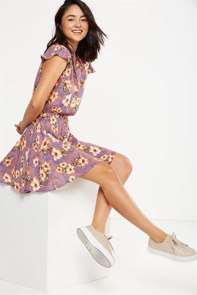 Woven Emily Short Sleeve Dres, ILANA FLORAL GRAPE SMALL