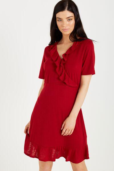 Rhianna Short Sleeve Frill Dress, RUBY RED