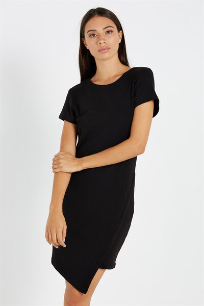 Jill Cap Sleeve Midi Dress, BLACK RIB