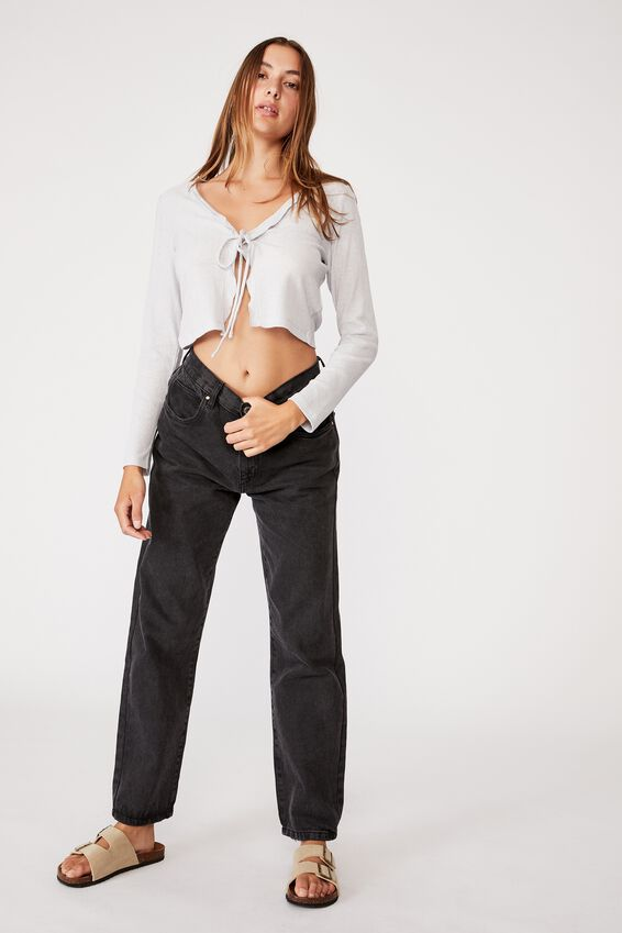 Ava Frill Tie Front Cardi, SILVER MARLE