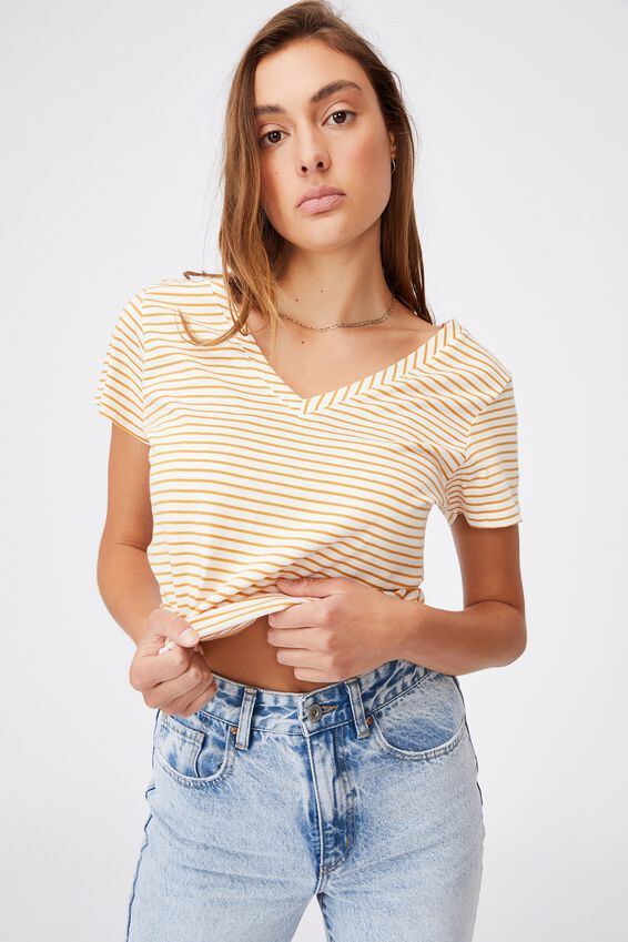 The One Fitted V Tee, JENNY STRIPE CLOUD DANCER_RETRO YELLOW