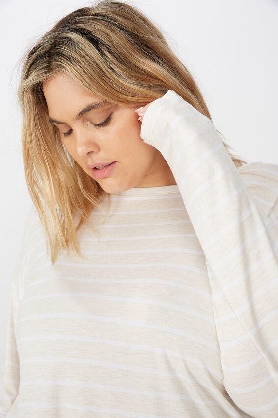Curve Sleep Recovery Long Sleeve Top, PORRIDGE STRIPE