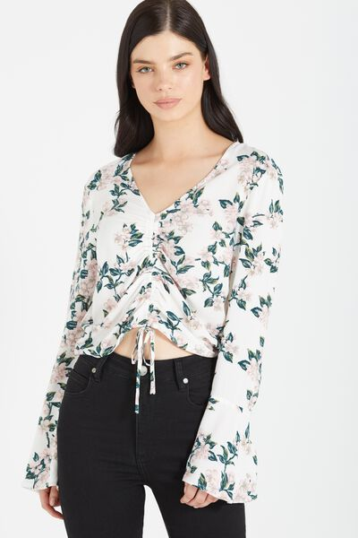 Madeleine Rouched Blouse, CHERRY BLOSSOM MARSHMALLOW