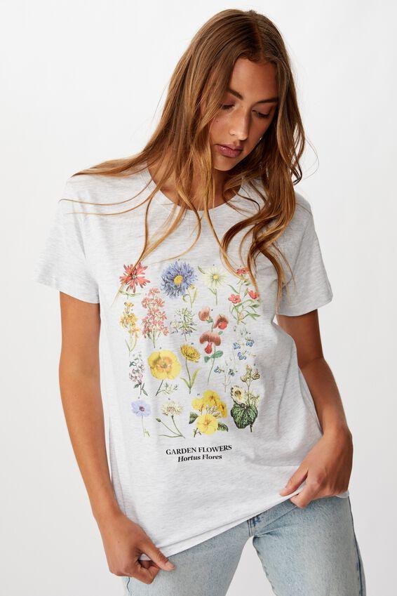 Classic Arts T Shirt, GARDEN FLOWERS/SILVER MARLE
