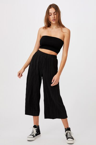 Poppy Pleated Pant, BLACK
