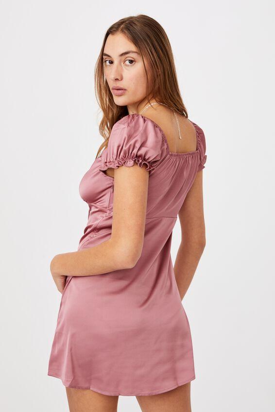 Woven Zuri Milk Maid Dress, DARK MAUVE