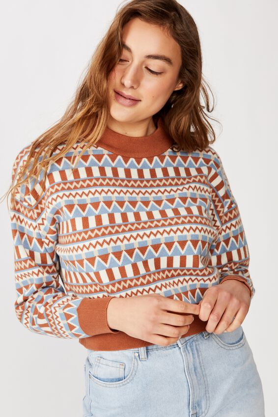 Chloe Intarsia Crew Luxe Pullover, ALL OVER INTASIA