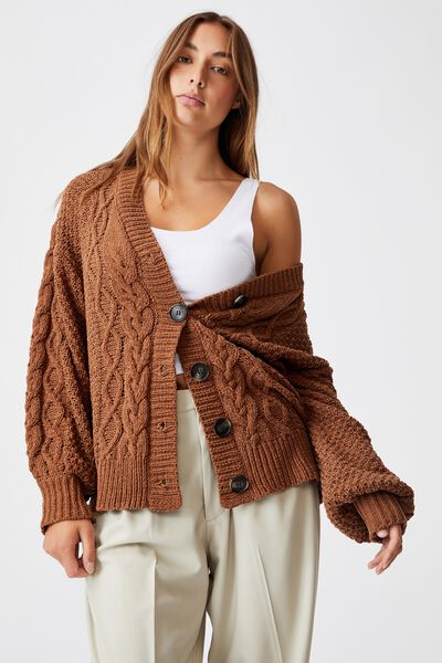 Heritage Chenille Cable Cardi, LEAF BROWN
