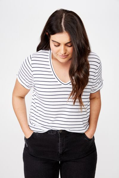 Curve Karly Short Sleeve Tee, CARL STRIPE WHITE  MOONLIGHT