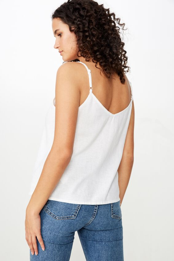 Amy V Neck Cami With Buttons, WHITE