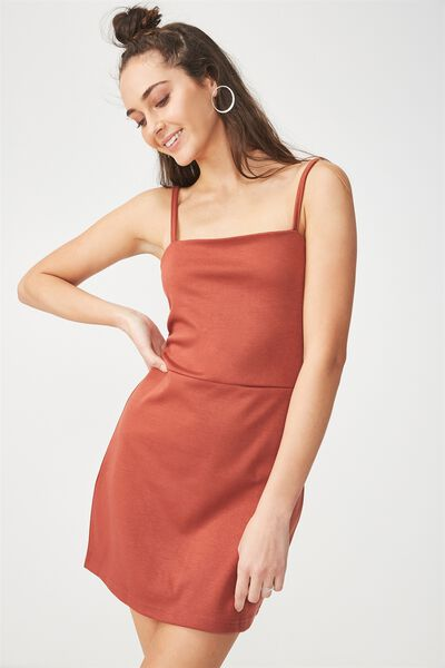 Gia Strappy Pinafore Dress, TERRACOTTA