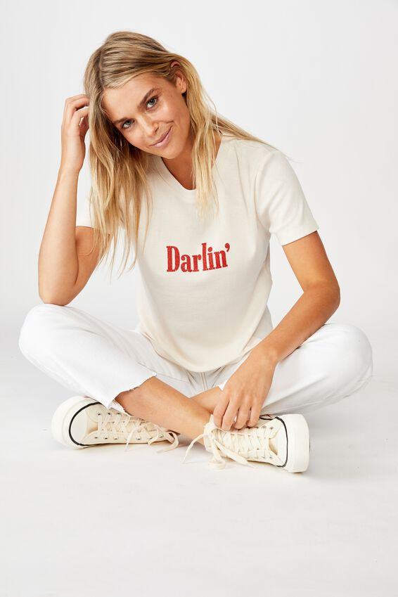 Essential Slogan T Shirt, DARLIN/WHITE SAND