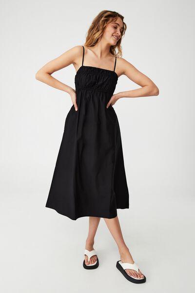 Woven Petite Pippa Midi Dress, BLACK