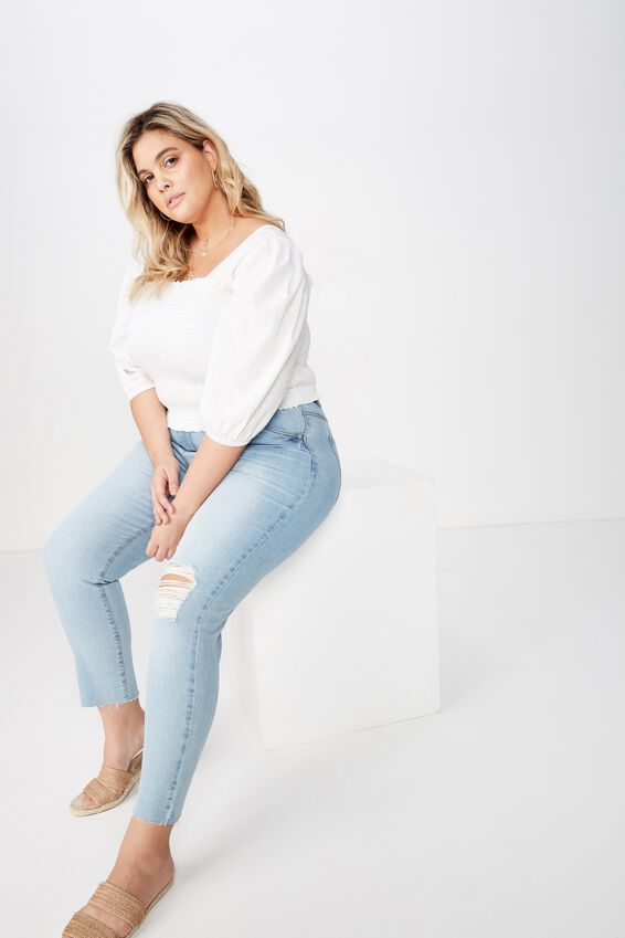 Curve Puff Sleeve Shirred Top, WHITE