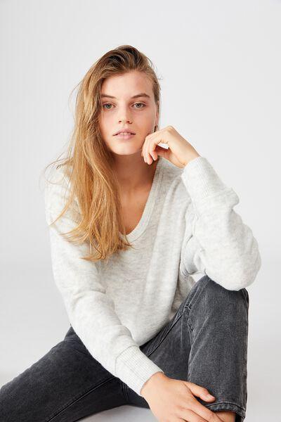 Luxe Fine Gauge V Pullover, LIGHT GREY MARLE