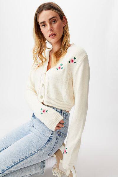 Crop Embroidered Cotton Blend Cable Cardigan, CHALK WHITE