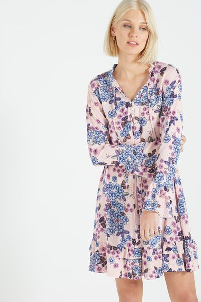 Woven Montana Drop Peplum Dress, PAULA FLORAL SILVER PINK