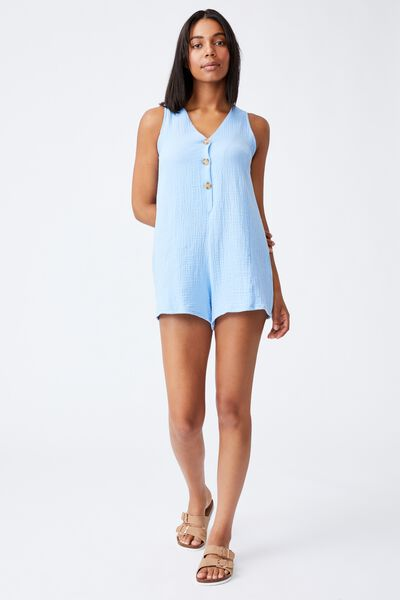 Woven Anica Sleeveless Romper, AUTHENTIC BLUE