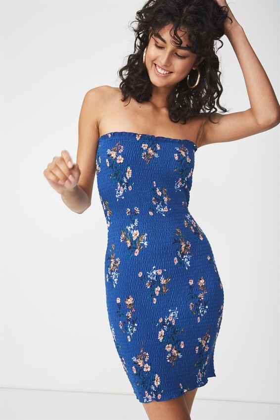 Shelby Shirred Boob Tube Dress, HOLLY FLORAL MONACO BLUE
