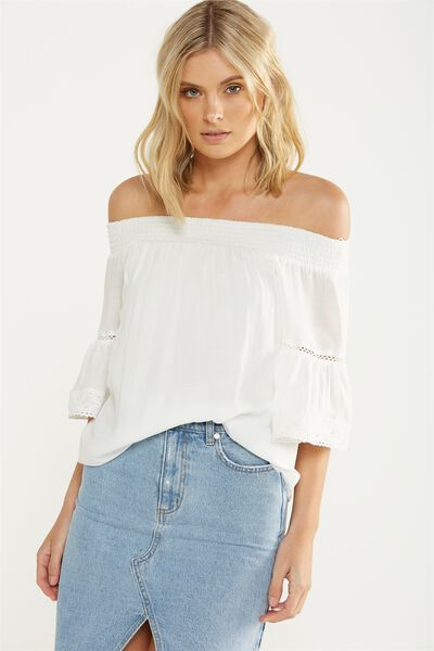 Connie Off The Shoulder Top, WHITE