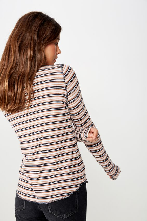 The Girlfriend Long Sleeve Top, NICOLA STRIPE CAMEL MULTI
