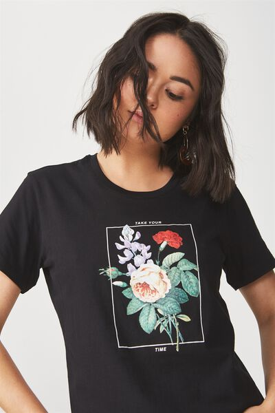 Tbar Fox Graphic T Shirt, TAKE YOUR TIME/BLACK