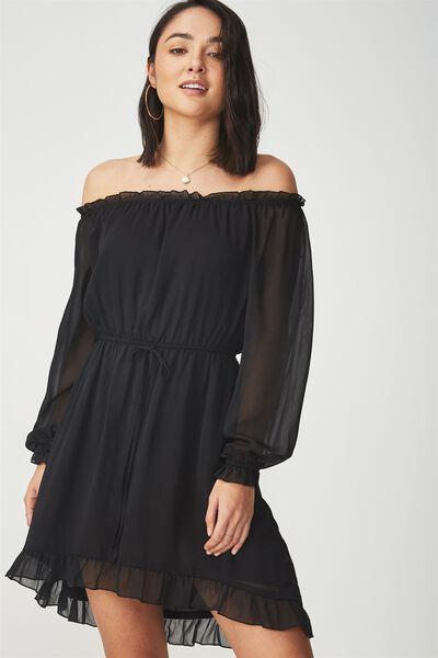 Woven Lorne Off The Shoulder Dress, BLACK