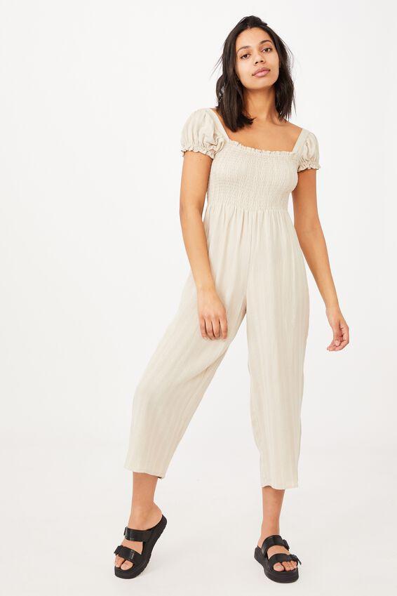 Woven Sasha Shirred Jumpsuit Petite, FAWN/CHALK WHITE