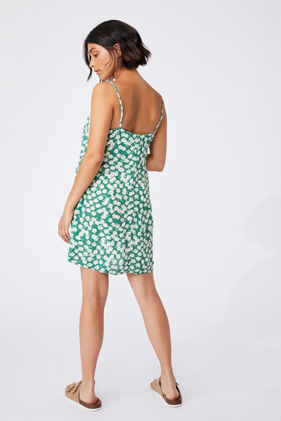 Woven Kye Strappy Mini Dress, SALLY DAISY HERITAGE GREEN