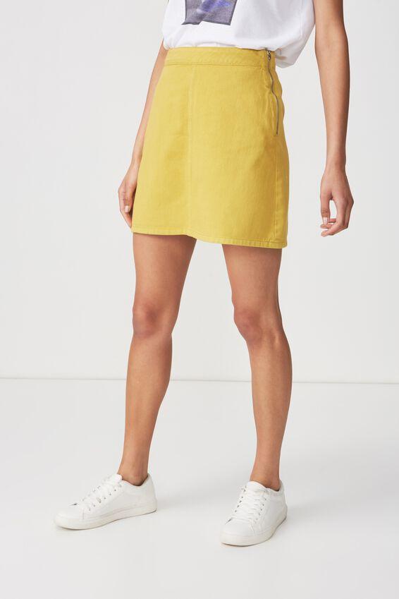 Denim Aline Skirt, GOLDEN PALM