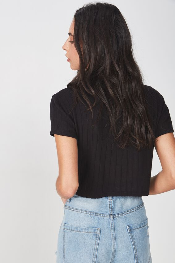 Mock Neck Texture Short Sleeve, BLACK
